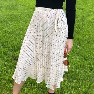 Loft white pleated polka dot skirt